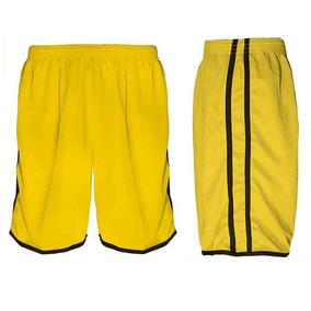 da29b51195 Calção Futebol Futsal Musculação-lotus-amarelo preto -adulto