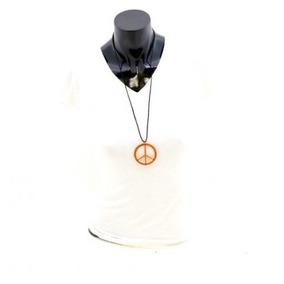 Collar Signo Amor Y Paz Color Bronce De Acero Envió Gratis