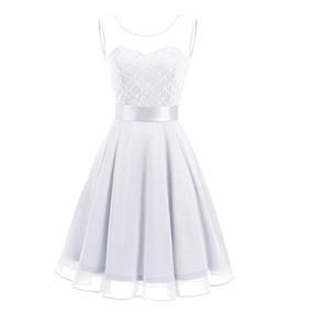Berylove Vestido Corto De Dama Floral De Encaje Blanco