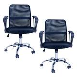 Kit 02 Cadeiras Escritório Premier Giratória Preto - Facthus
