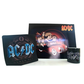 Kit Ac Dc: 1 Caneca+1 Placa Decorativa +mousepad