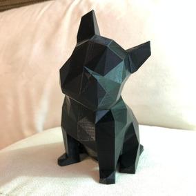 Bulldog Geométrico Filhote Cachorro Decoração 15 Cm