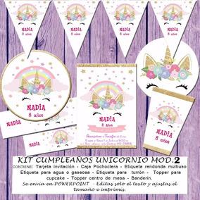 Kit Imprimible Editable Cumpleaños Unicornio Mod 2