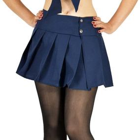 Minifalda Tableada Colegiala Con Pantimedias Y Tanga