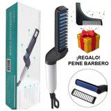 Plancha Para Barba Y Cabello Hombre + Regalo Peine Delineador · Cepillo Eléctrico Alaciador Alisador Bigote