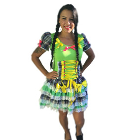 Vestido Festa Junina Para Copa Verde E Amarelo Adulto