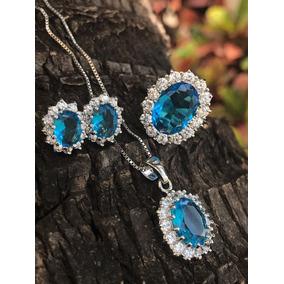 Conjunto Cristal Azul Prata 925