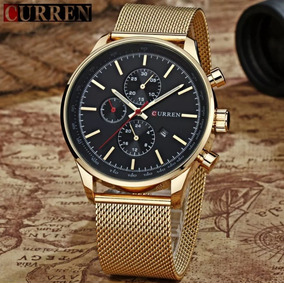 Relógio Masculino Dourado Luxo Curren 2227 Quartz Original