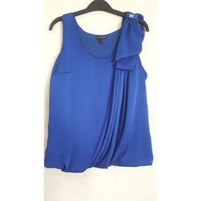 Blusa Sin Mangas Color Azul Rey Con Moño Al Hombro