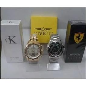 d77a3095efd Kit 2 Relógio Masculino Dourado Prata +2 Perfume Brinde Top
