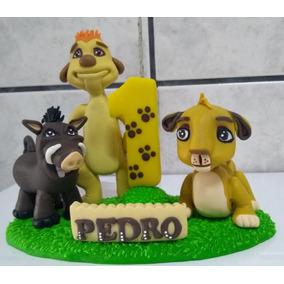 Vela Tema Rei Leão C/simba,timão E Pumba Em Biscuit