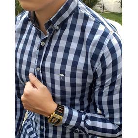 Camisa Slim Fit Para Hombre Cuadro Azul Y Gris Manga Larga