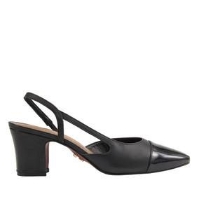 2340315ab92 Sapato Scarpin Chanel Bico Quadrado Salto Baixo Bicolor Carr
