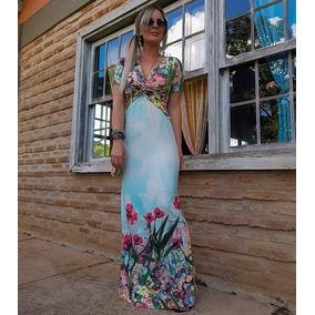 Roupas Femininas Vestido Feminino Malha Estampado Longo 56