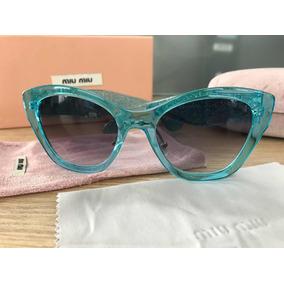 Óculos Miu Miu Azul Transparente Smu11ps Gatinho Feminino a60c455230