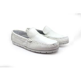 Sapato Branco Masculino Couro Sapatilha Mocassim Promoção 3ffe34516b4f8