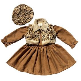 Vestido Oncinha Luxo Festa Infantil C colete boina Tam1 Ao 3 c91f6cde62a