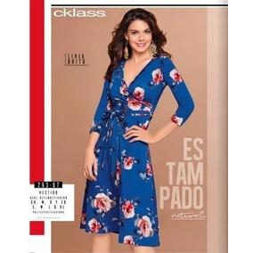 Vestido Azul Marino/multicolor P/dama Cklass 263-67 Oto/inv