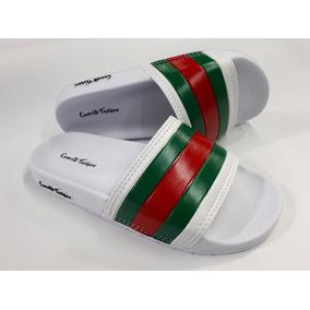 Chinelo Slide Branco Listra Verde Vermelho Tipo Chanell 8032