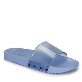 Rasteira Slide Feminina Zaxy Snap Com Tira Larga Azul