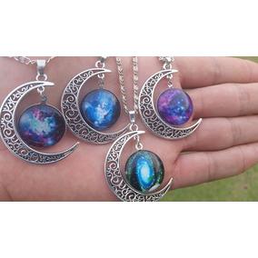 Colar Feminino Corrente Lua Universo Galaxia Nebulosas 3d