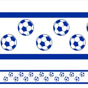 Adesivo De Parede Faixa Infantil Bolas De Futebol Azul c7dd726613c51
