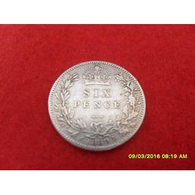 Moeda Inglaterra 6 Pence 1889 Ag 0,925