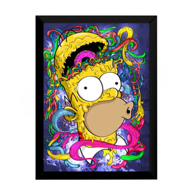 Quadro Simpsons Psicodelic Arte Imagine Homer 42x29cm