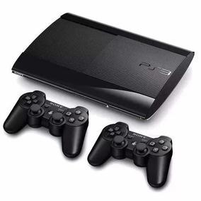 Ps3 Super Slim Playstation 500gb Com 2 Controles + 68 Jogos