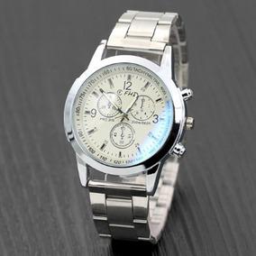 Relógio Luxo Masculino Fhd Pulseira Aço Social