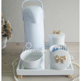 Kit Higiene Bandeja Porcelana Bebe Algodao Cotonete Termica