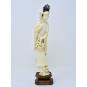 Oferta!! Dama Antigua Labrada En Marfil China Ca. 1900