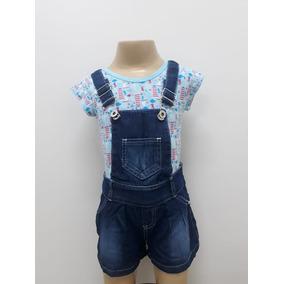 Jardineira Infantil Jeans Menina Verão - 8 Meses Aos 6 Anos
