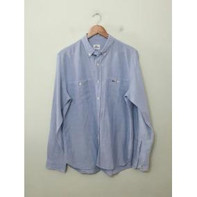 7fb742afbb731 Camisa Social Lacosta - Camisa Social Manga Longa Masculino Azul no ...