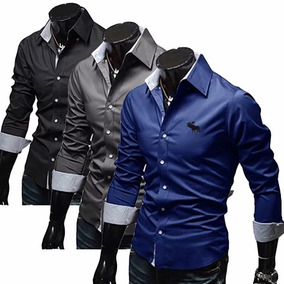 Camisa Social Slim Fit De Homens De Negocio, Luxo - Promoçao