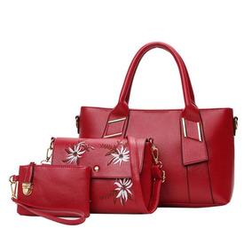 Bolsa De Couro 3 Peças Mojoyce Red Elegante Luxo Embroyder