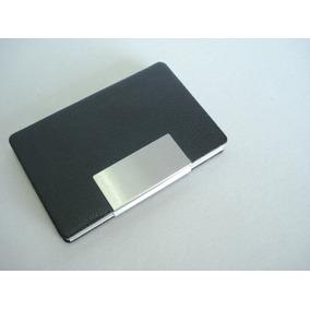 Porta Cartão De Visitas Couro Liso Chapa Metal