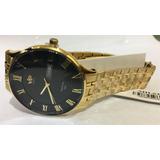 161425d86bf Relógio Vip Mh-6320 Pulseira Dourada Fundo Preto Promoção