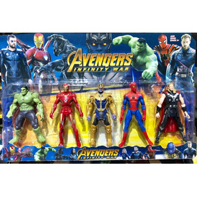 Kit Com 5 Bonecos Heróis Thanos Hulk Capitão Thor Ferro Aran