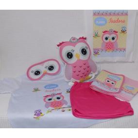 10 Kits Pijama+almofada+bolsa+higiene+máscara+chinelo