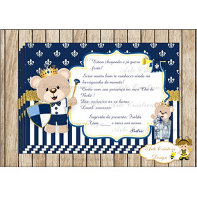 Convite Cha De Fralda Principe Azul Marinho Convites No Mercado