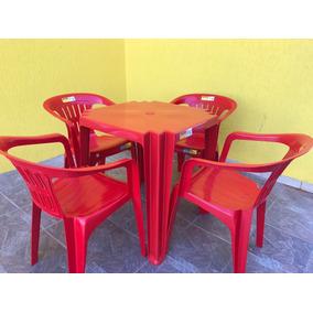Conjunto Mesa E 4 Cadeiras Poltronas Tramontina Para 154 Kg