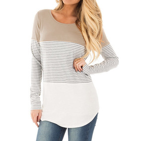 Assorted Colors Round Neck Striped Base