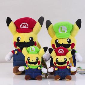 4pcs Centro Pokemon Pikachu Peluche Muñeca Super Mario -7369