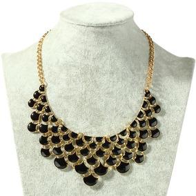 Colar Maxi Colar Chocker Feminino Dourado Pedra Preta Luxo