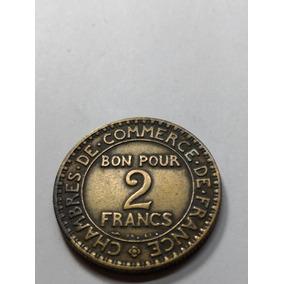 Linda Moeda Francesa Comemorativa 2 Francs 1924 .