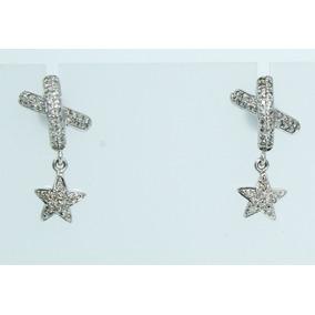 5a201905b7659 Incriveis Brincos Estrelas Em Ouro Branco Com Diamantes - Brincos no ...