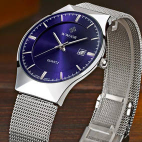 Relógio Wwoor 8016 Casual Masculino Pulseira D´aço Inox