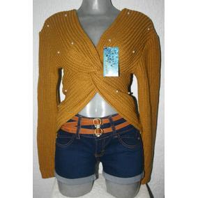 Suéter Tejido Con Cruce Y Aplicación De Perlas