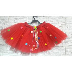 Saia Tutu Infantil Vermelha Pompom Festa Fantasia Carnaval